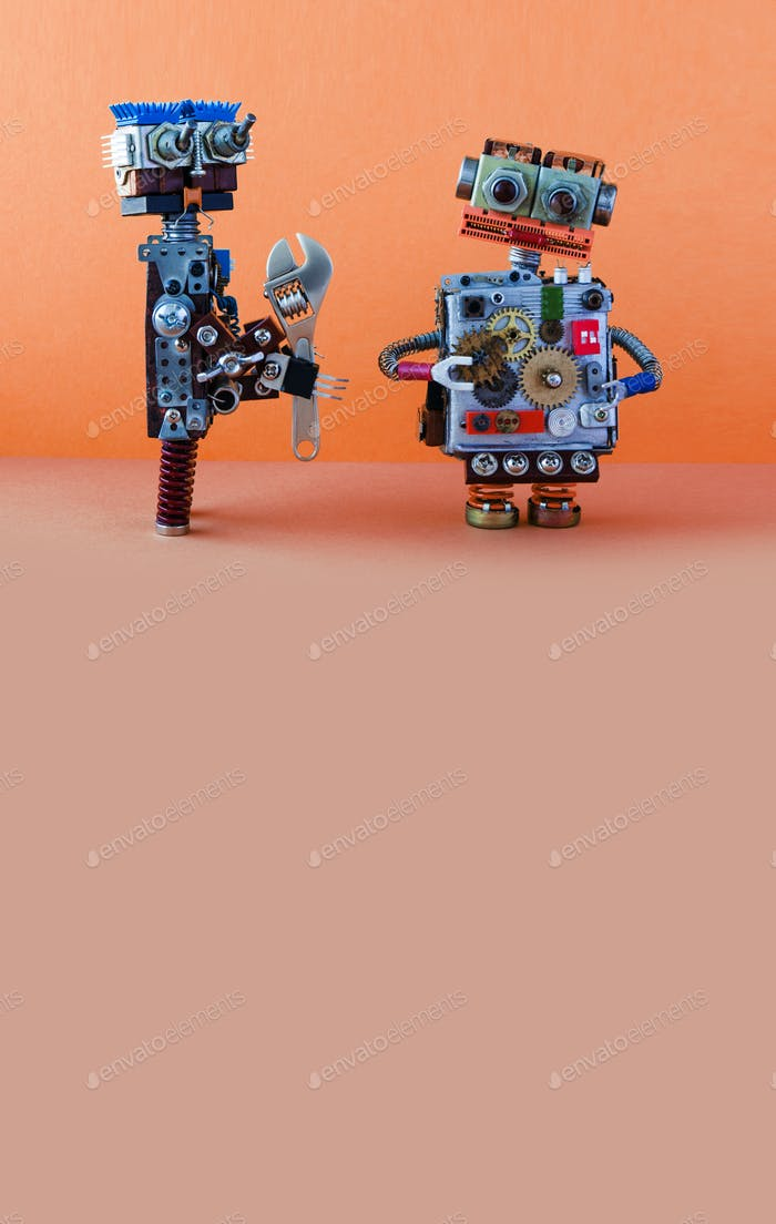 Robot serviceman with adjustable spanner wants to fix broken robot. Maintenance repair fix concept