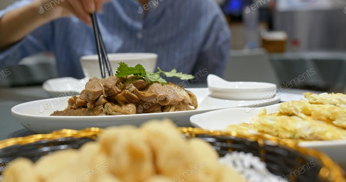 Chinese dishes in restaurant, soy sauce goose and tofu
