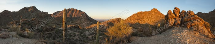 180 degree panorama of sonoran desert
