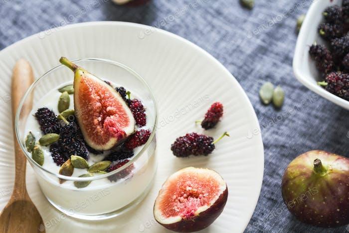 Greek yogurt with Fig ,Mulberries and pumpkin seed