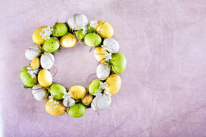 Easter Wreath On Pink Background
