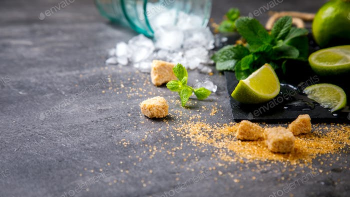 Ingredients for making Mojito Cocktail
