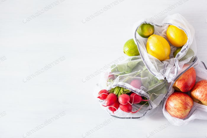 fruits and vegetables in reusable mesh nylon bag, plastic free z