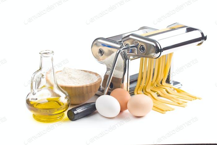 pasta machine with ingredients