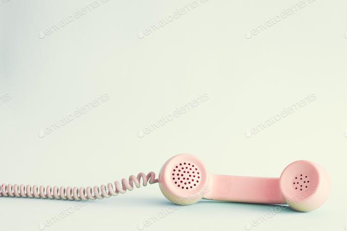 Pink vintage phone headset