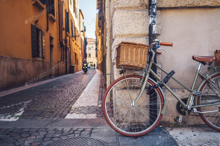 Bicycle with a basket in Italy