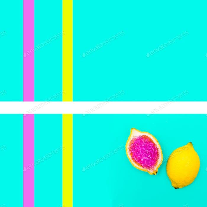 Art gallery. Fashion Glitter Lemon Yellow mood geometry Minimal