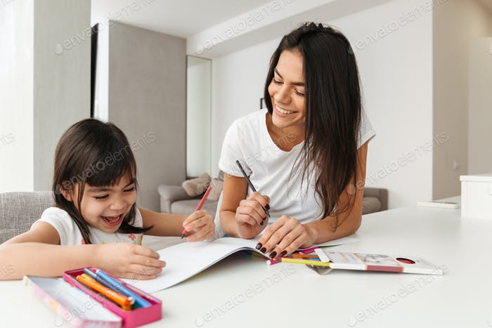 Portrait of young family mother and child spending time together