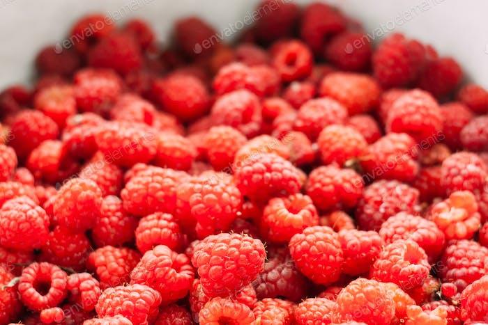 Fresh Red Sweet Berries Raspberries In Market
