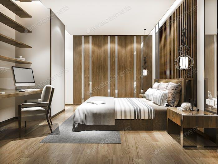 3d rendering beautiful luxury bedroom suite in hotel with working table