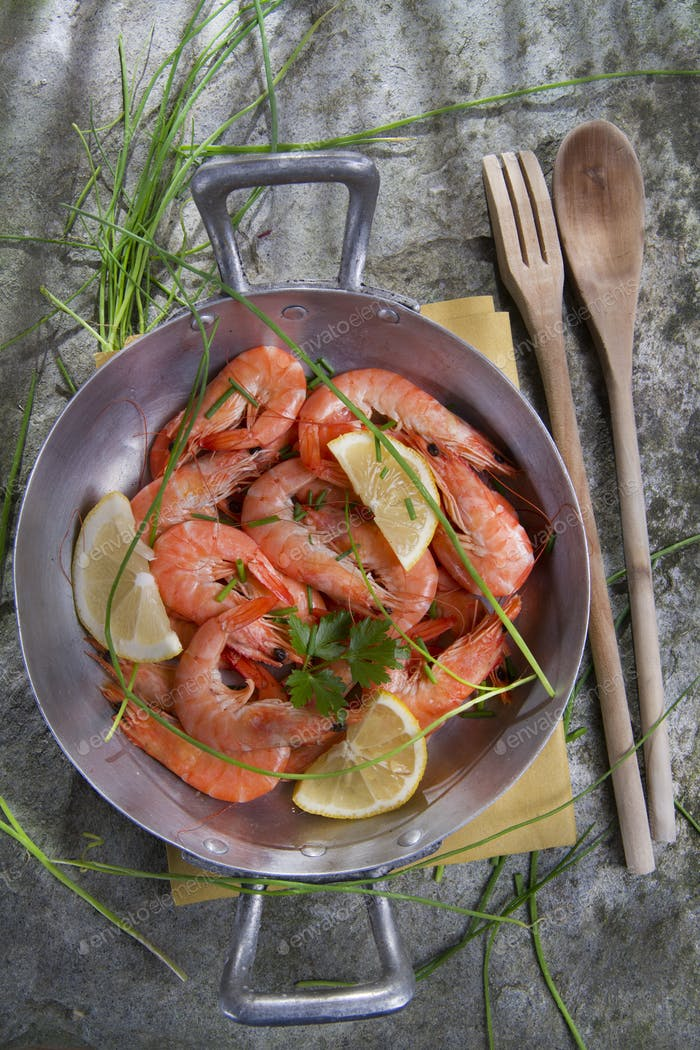Presentation Of Raw Shrimp