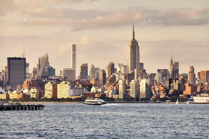 Manhattan seen from New Jersey at sunset, USA