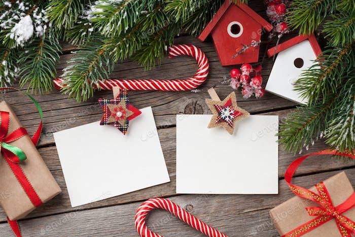 Christmas blank photo frames, decor and fir tree