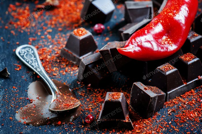 Red hot chili pepper, dark chocolate pieces, chocolate sauce, ground pepper