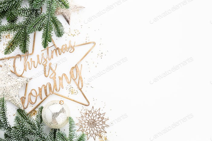 Christmas is coming - poster or postcard design.