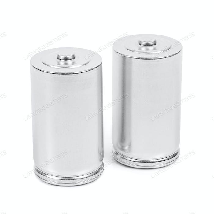 Batterien der Größe LR20 D auf weißem Hintergrund