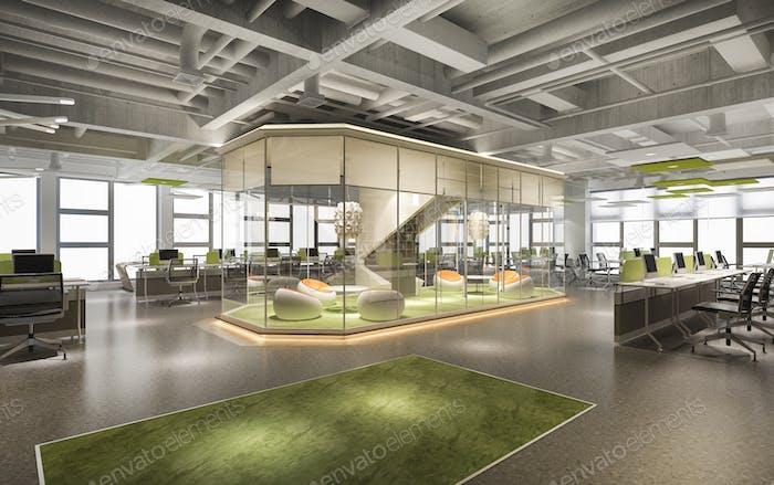 3d рендеринг бизнес-встреча и зеленая рабочая комната на офисном здании