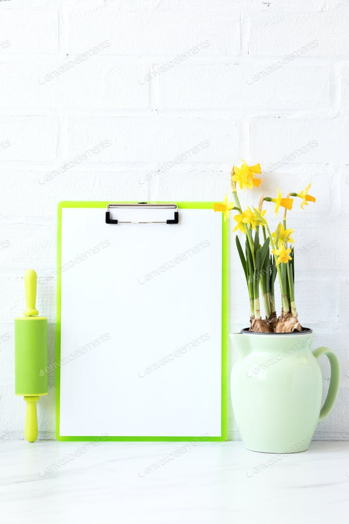 Kitchen board for recording spring recipes, menus and notes. Cuisine utensils,tools.