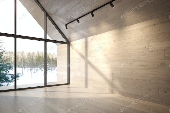 Empty room of a forest house 3D rendering