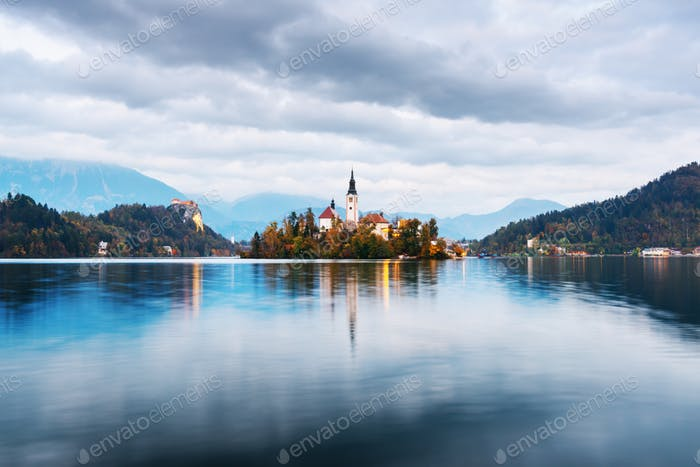 Bled lake with island
