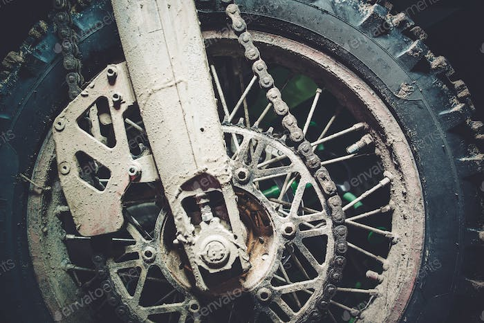 Dirty Motocross Bike Wheel