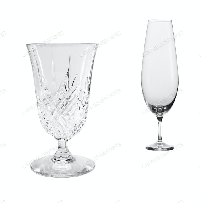 empty glasses of wine and cognac isolated