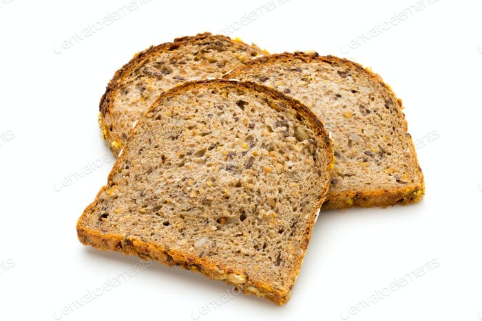 Whole wheat bread isolated on white background.