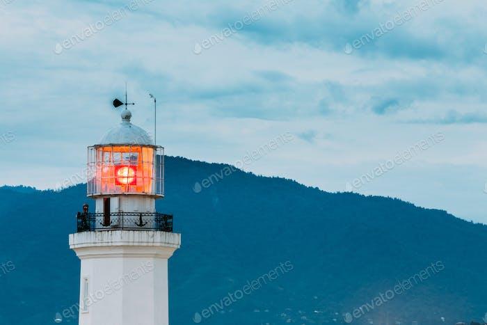 Batumi, Adjara, Georgia. Old Pitsunda Lighthouse On Blue Evening