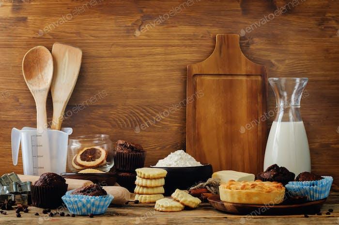 Baking ingredients and baking tools