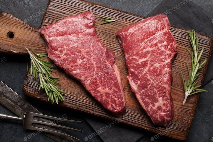 Raw marbled beef steak