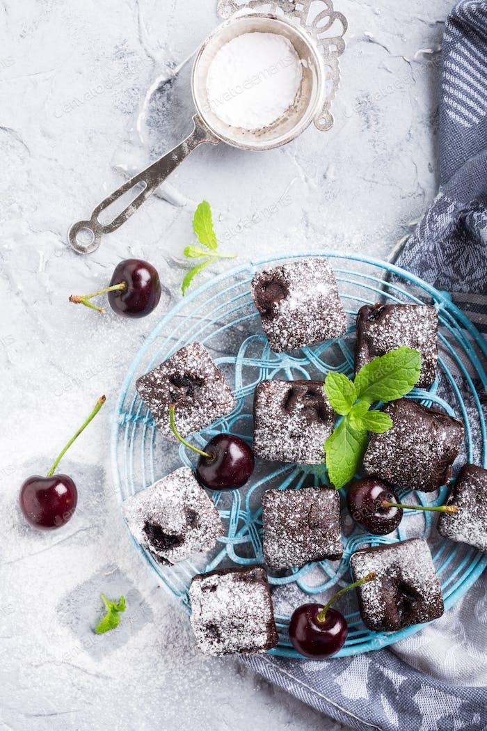 Homemade chocolate cherry brownie cake