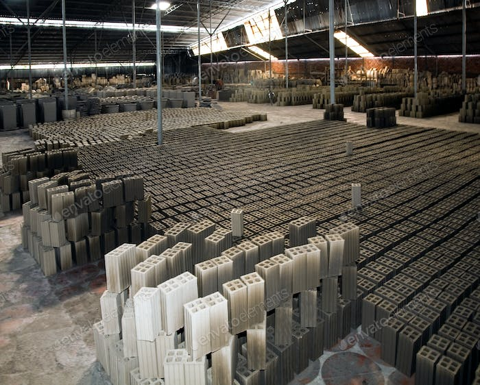 Bricks drying in factory