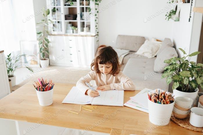 Cute preschooler girl learning home. Homeschooling, distance learning for kids.