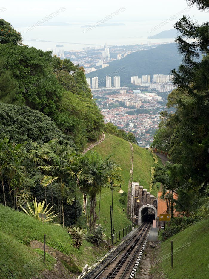 Railway tram track on the Penang hill, Malaysia.