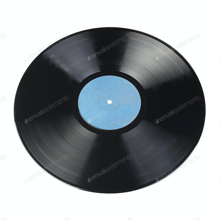 12-inch vinyl record with blank label isolated.