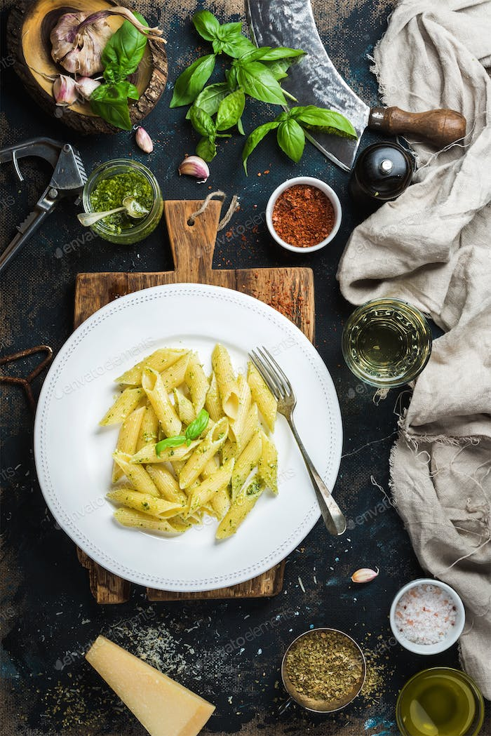 Penne with pesto sauce, parmesan cheese, fresh basil and spices
