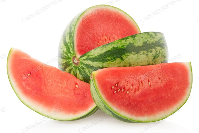 Watermelon and slices isolated on white, clipping path