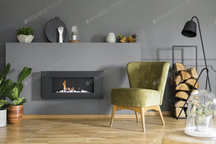 Black fireplace between plants and green armchair in grey flat i
