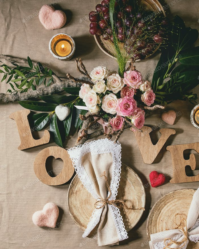 st. Valentines day table setting