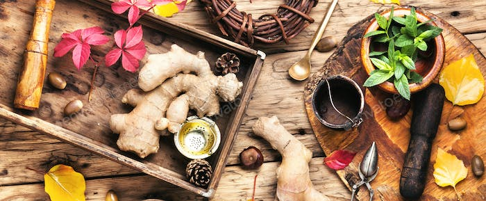 Ginger root for tea