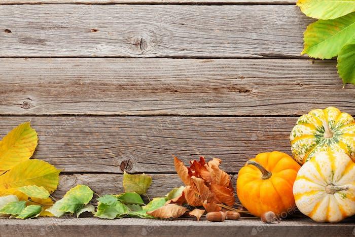 Autumn backdrop with pumpkins