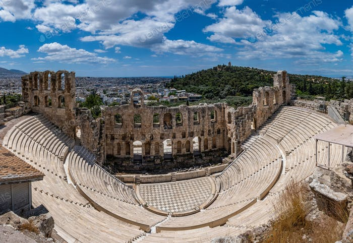 Odeon of Herodes Atticus on Acropolis hill in Athens, Greece