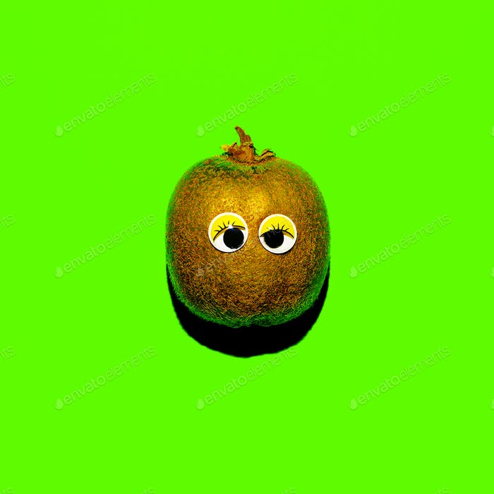 Kiwi with funny eyes Vegan minimal style