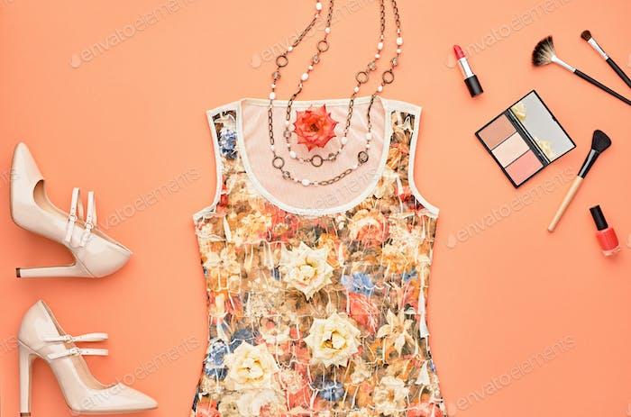 Fashion Glamor Stylish Set. Essentials Cosmetic.