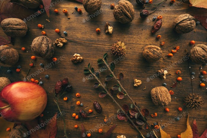 Rustic top view flat lay autumn arrangement decoration
