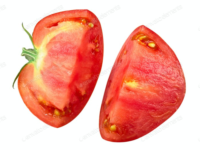 Split beef tomato half, top view