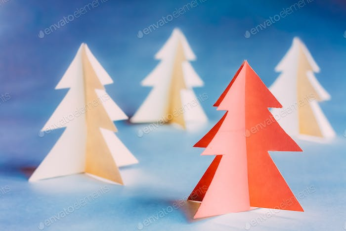 Eco Concept Christmas Trees Made Of Paper. Christmas Card. Simple Minimalistic Paper Decoration. One