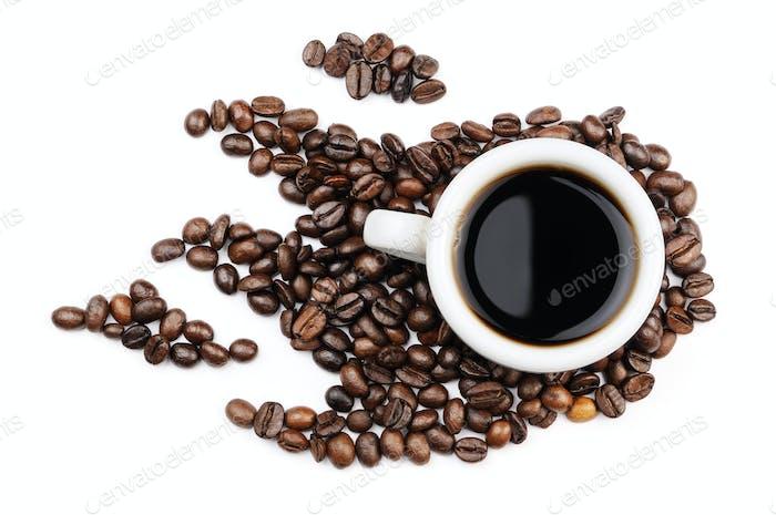 Coffee mug coffee beans