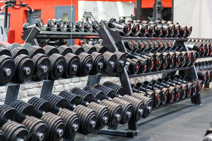 Ряды металлических гантелей на стойке в тренажерном зале