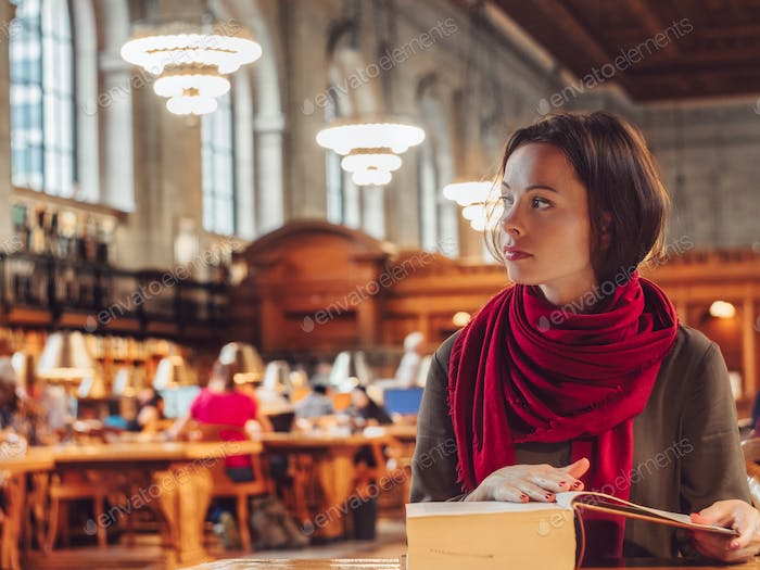 Young student in the library